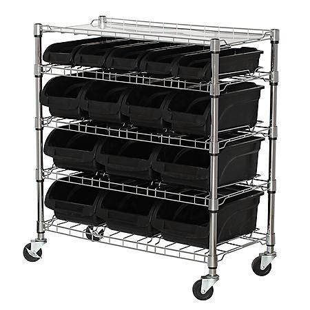 Sandusky 5-Level Mobile Bin Shelving Unit with Plastic Bins