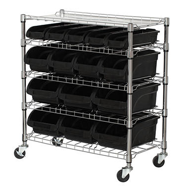 Sandusky 5-Level Mobile Bin Shelving Unit with Plastic Bins
