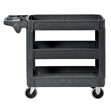 "Sandusky 3-Shelf Plastic Utility Cart with 5"" Casters"