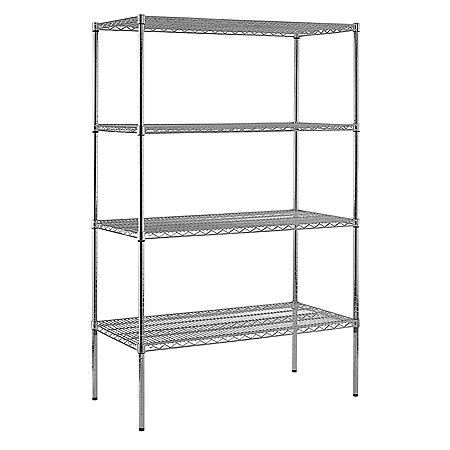 "Sandusky Heavy Duty 4-Level NSF Certified Wire Shelving - Chrome (86""H x 48""W x 24""D)"