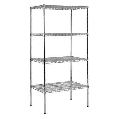 Sandusky Heavy Duty 4-Level NSF Certified Wire Shelving - Chrome