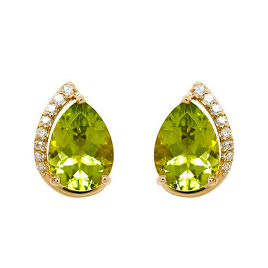 Pear Shape Peridot Earrings With Diamonds In 14k Yellow Gold