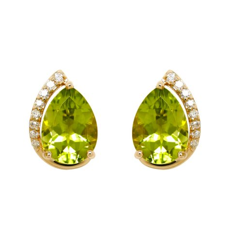 Pear Shape Peridot Earrings with Diamonds in 14K Yellow Gold