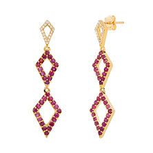 Rhombus Ruby Earrings with Diamonds in 14K Yellow Gold