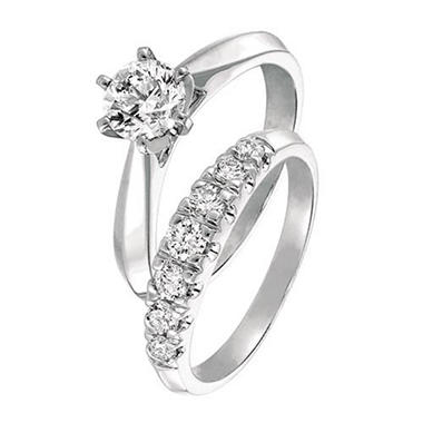 0.50 ct. t.w. Round Cut Diamond Cathedral Engagement Set in 14k White Gold (I, SI2)