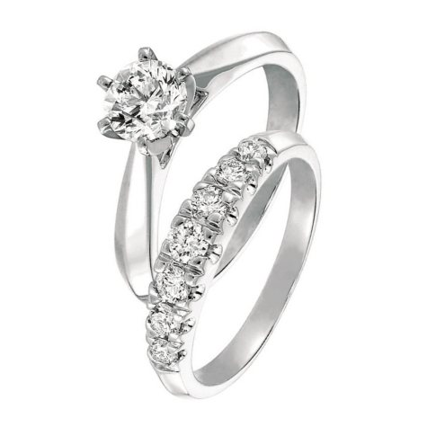 1.00 CT. T.W. Round-Cut Diamond Cathedral Engagement Set in 14k White Gold (I, SI2)