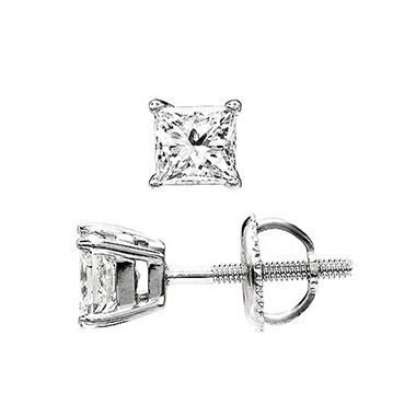 1.00 ct. t.w. Princess-Cut Diamond Stud Earrings in Platinum (I, VS2)