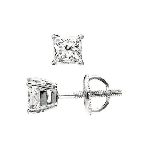 1.00 ct. t.w. Princess-Cut Diamond Stud Earrings in Platinum (I, VS2)