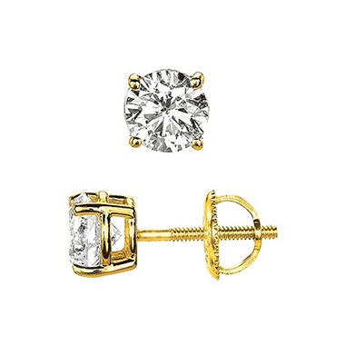 0.50 ct. t.w. Round-Cut Diamond Stud Earrings 14K Yellow Gold (I, VS2)