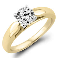 0.31 CT. Round Diamond Solitaire Ring in 14K Yellow Gold (F, I1)
