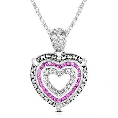 0.15 CT. T.W. Diamond and Ruby Heart Pendant in Sterling Silver