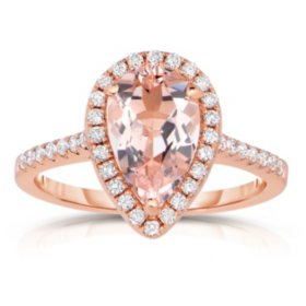 Pear Shaped Morganite Ring with Diamonds in 14K Rose Gold