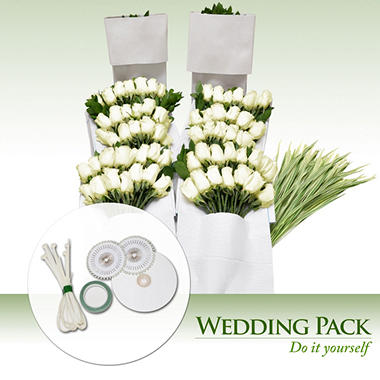 Do-It-Yourself Wedding Flowers Kit, White Roses (200 stems)