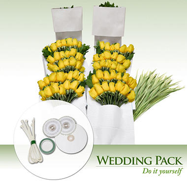Do-It-Yourself Wedding Flowers Kit, Yellow Roses (200 stems)