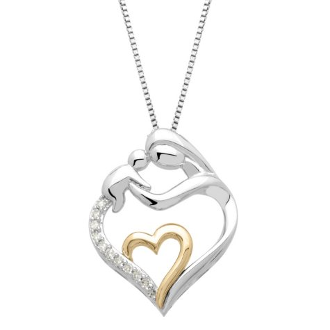 Mother and Child Pendant with Diamond Accent in Sterling Silver and 14K Yellow Gold (H-I, I1)