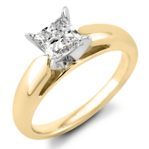 0.47 CT. Princess Diamond Solitaire Ring in 14K Yellow Gold (F, I1)