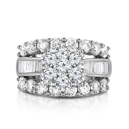 3.95 CT. T.W. Diamond Engagement Ring in 14K White Gold