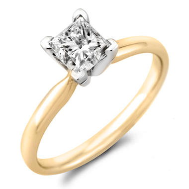 0.96 CT. Princess Diamond Solitaire Ring in 18K Yellow Gold with Platinum Head (H, VS2)