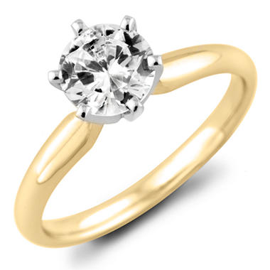 0.96 CT. Round Diamond Solitaire Ring in 18K Yellow Gold with Platinum Head (H, VS2)
