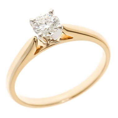 0.47 CT. Round-Cut Diamond Solitaire Ring in 14K Yellow Gold (I, I1)
