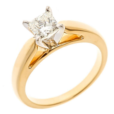 0.47 CT. Princess-Cut Diamond Solitaire Ring in 14K Yellow Gold (I, I1)