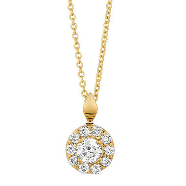 0.50 CT. T.W. Round-Cut Diamond Halo Pendant in 14K Yellow Gold (I, I1)