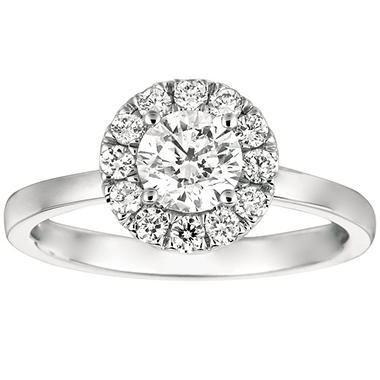 1.00 CT. T.W. Round-Cut Diamond Halo Ring in 14K White Gold (I, I1)