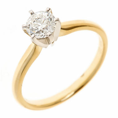 0.72 CT. Round-Cut Diamond Solitaire Ring in 18K Yellow Gold (H, VS2)