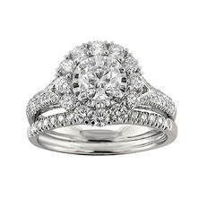 Christopher Designs 1.70 CT. TW. Round Diamond Halo Engagement Set in 14K White Gold (I, I1)