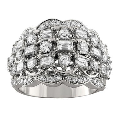 Christopher Designs 2.00 CT. TW. Baguette and Round Diamond Band in 14K White Gold (I, SI2-I1)