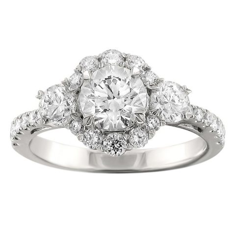Christopher Designs 2.00 CT. TW. Round Diamond 3-Stone Ring in 14K White Gold (I, I1)