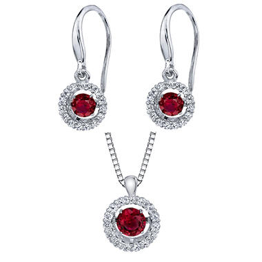 Sterling Silver Dancing Lab Ruby Pendant and Earring Set