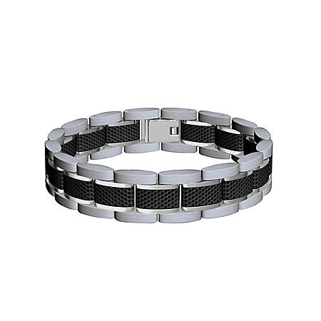 Two-Tone Stainless Steel Carbon Fiber Bracelet