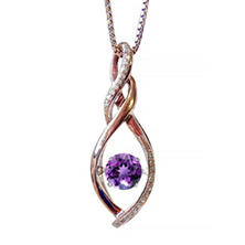 Amethyst Dancing Gem Pendant with Diamonds