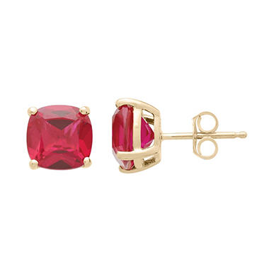 7mm Lab Ruby Cushion-Cut Stud Earrings in 14K Yellow Gold