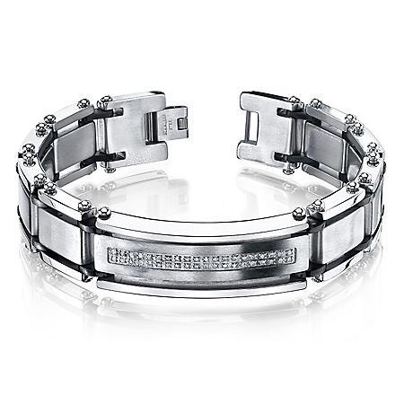 Men's .20 CT. T.W. Diamond Bracelet in Stainless Steel (IGI Appraisal Value: $180)