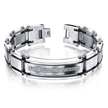 Men's .20 CT. T.W. Diamond Bracelet in Stainless Steel (IGI Appraisal Value: $180)