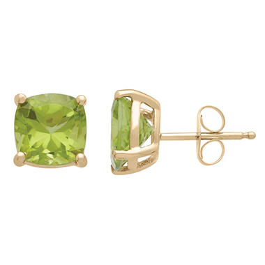 7mm Peridot Cushion-Cut Stud Earrings in 14K Yellow Gold