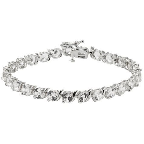 Sterling Silver Lab-Created White Sapphire Bracelet (IGI Appraisal Value: $250)
