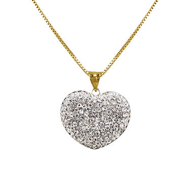 Reversible Swarovski Crystal Heart Pendant in Sterling Silver