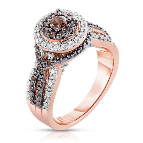 0.72 CT. TW. Fancy Brown Diamond Ring in 14K Rose Gold (H-I, I1)