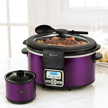Bella Slow Cooker with Bonus Dipper - Purple