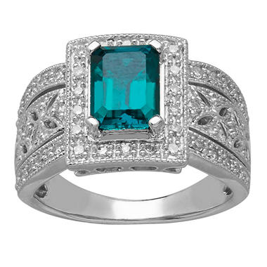 8/6mm Lab Emerald Ring with 0.23 CT. T.W. Diamonds in Sterling Silver