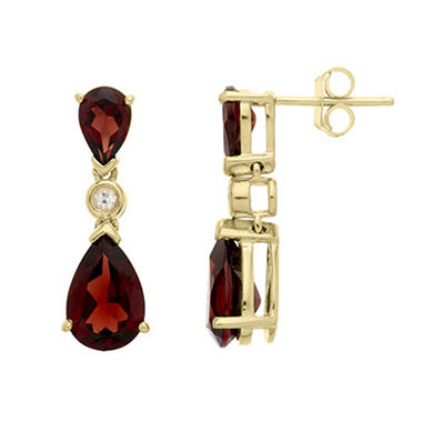 3.24 CT. T.W. Garnet and 0.04 CT. T.W. White Topaz Earrings in 14K Yellow Gold