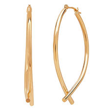 14K Gold Bottom Crossover Hoop Earrings