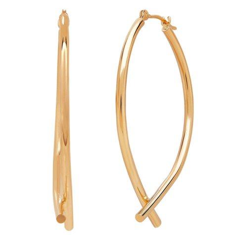 14K Gold Bottom Crossover Hoop Earrings
