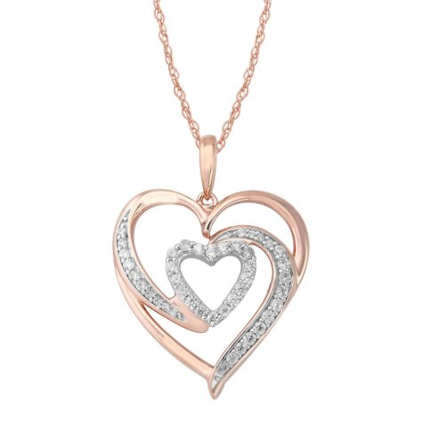 0.20 ct. t.w. Diamond Double Heart Pendant Necklace in Pink Sterling Silver (IGI Appraisal Value: $220.00)