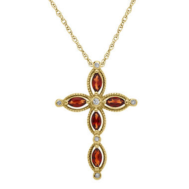 0.48 CT. T.W. Garnet Cross with Diamond Accent in 14K Yellow Gold