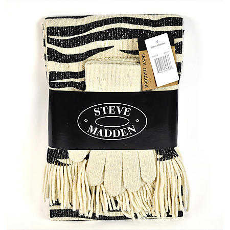 SCARF AND GLOVE SET KNIT MATERIAL