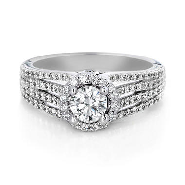 Premier Diamond Collection 1.22 CT. T.W. Round Diamond Halo Engagement Ring in 18K White Gold - GIA & IGI (G, SI1)